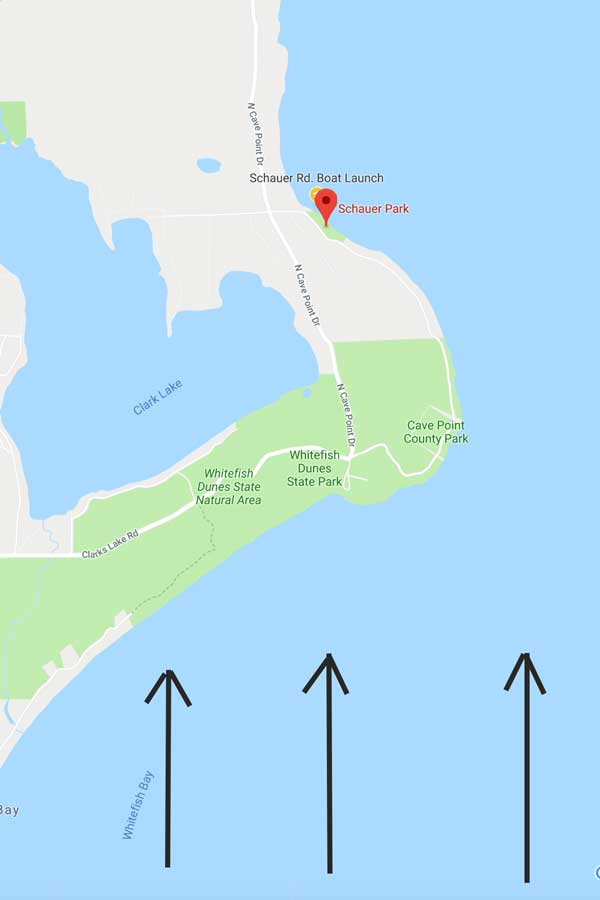 where is the closest boat launch to cave point county park