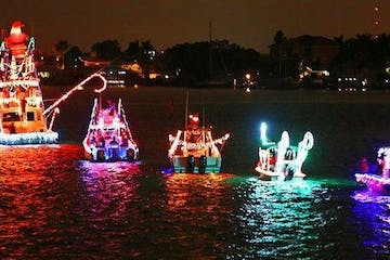 boats with christmas lights