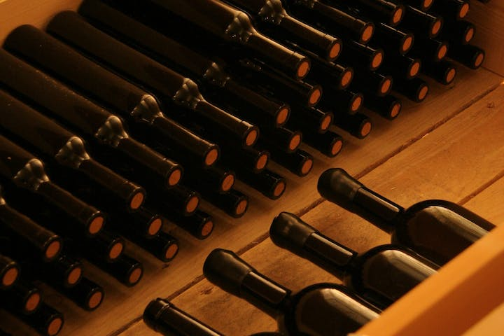 Bottles of wine ageing
