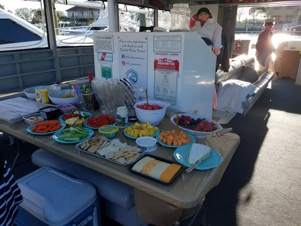food platter on boat for private event