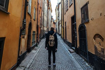 Man walking in Stockholm street