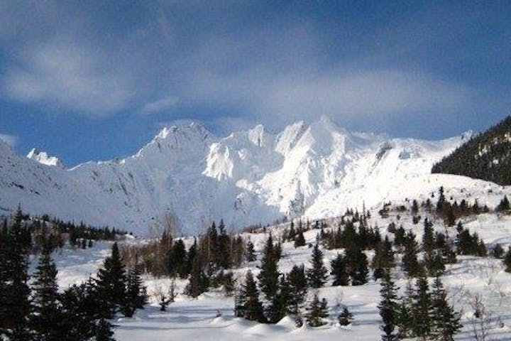 View of snowy mountains and valley in Alaska