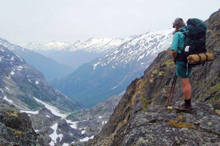 Hiker admiring valley