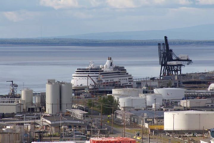 Cruise ship docked at shore