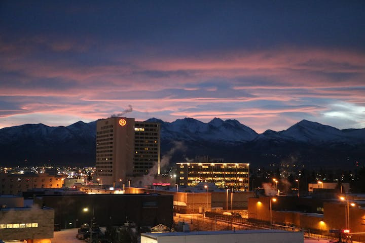 Anchorage at night with lights