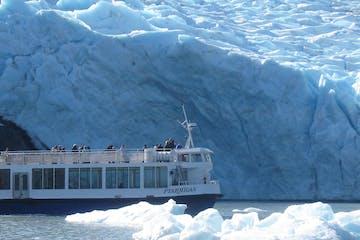 Cruise ship next to glacier