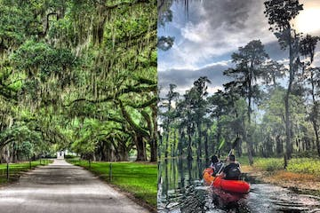 photo of the whitney plantation and the manchac swamp with two people kayaking