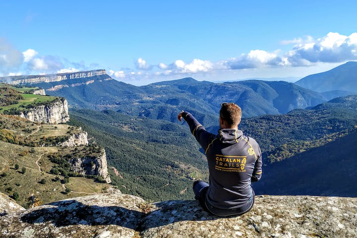 Sitting on the top of a mountain in Catalonia