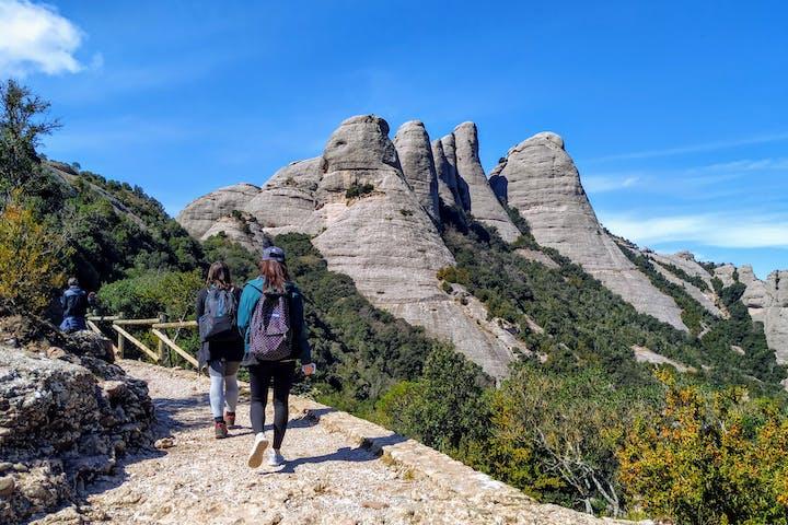 Group hiking on Monsterrat's mountain