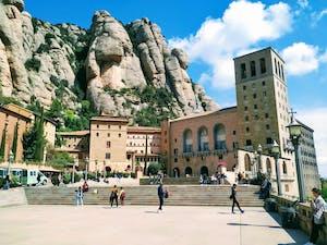 People walking through Montserrat square
