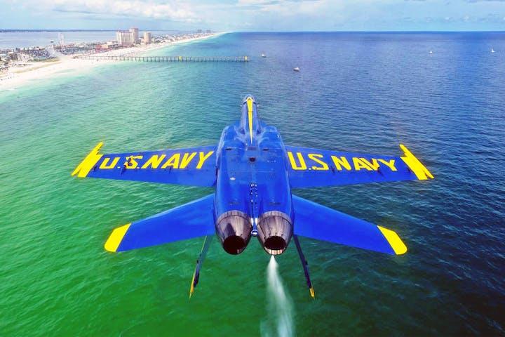 Blue Angel jet flying off the coast of Florida