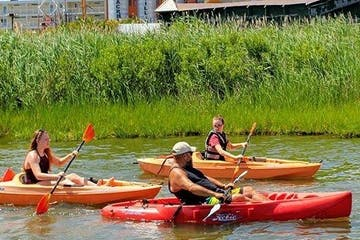 A group of people riding in their solo kayaks