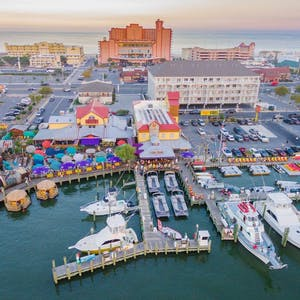 aerial photo of fish tales bar and grill in ocean city, md