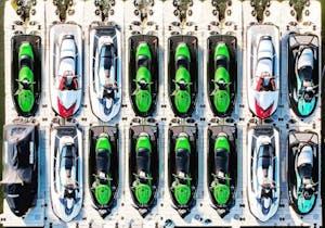 jetskis sitting on a floating dock