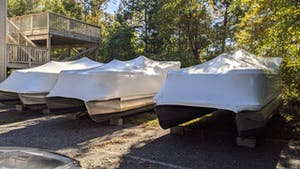 boats shrink wrapped for winter
