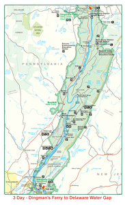 Digman's Ferry to Delaware Water Gap Map