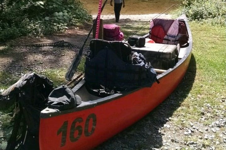 Canoe loaded up with gear