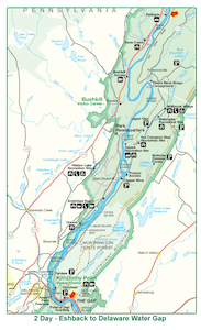 Eshbeck to Delaware Water Gap Map