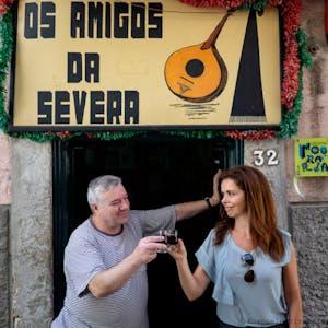 Filipa having a toast with Os Amigos de Servera owner
