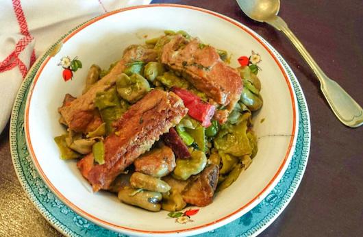 Portuguese dish: fava beans with pork ribs