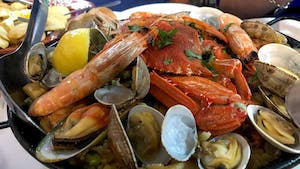 a plate of Portuguese food and drinks in Australia - clams ameijoas with stew