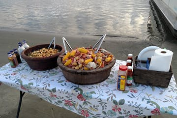 Beachside cookout spread