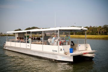 49 passenger white pontoon boat