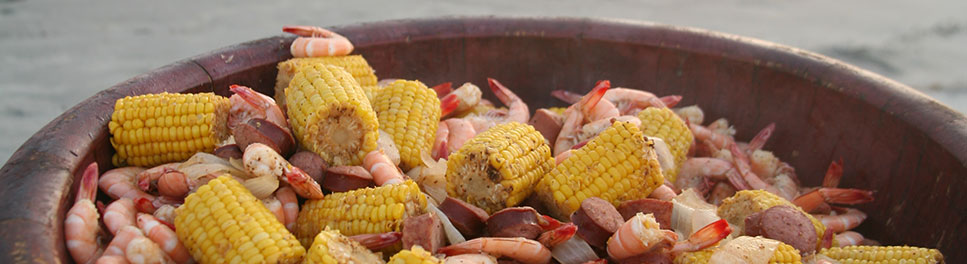Close up view of Low Country seafood boil in a pot
