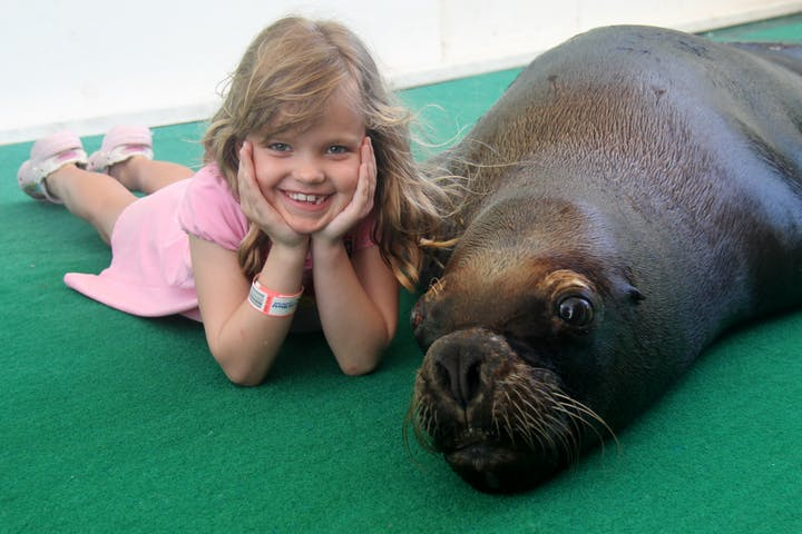 A little girl posed with a sea lion at Coral World Ocean Park