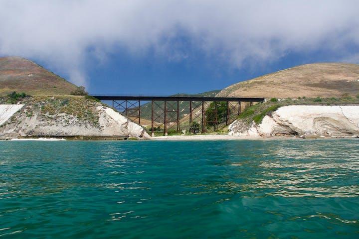 Bridge seen kayaking Gaviota coast