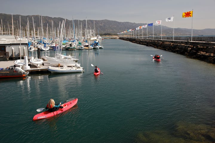 Group of people on kayaks near the marina