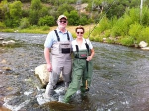 Alan and Cindy Goldsberry fly fishing