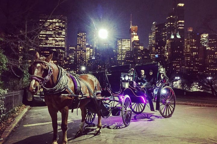 A carriage at night
