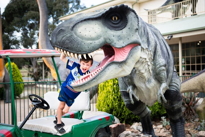 Kid playing in a garden with dinosaur