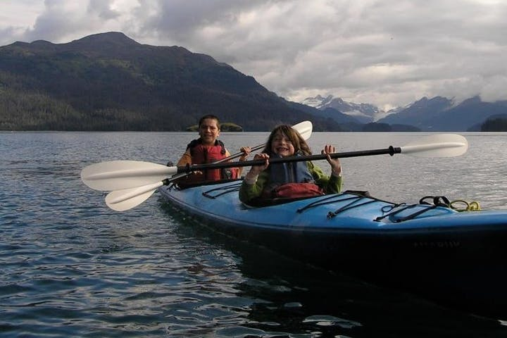mother and son in tandem kayak