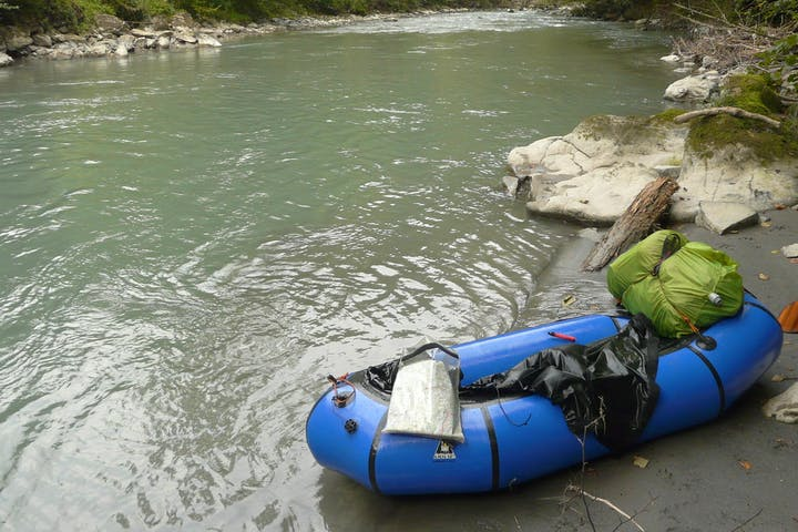 packraft at water's edge