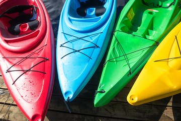 Multi colored kayaks