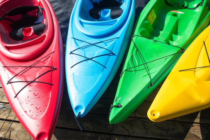 Multi colored kayaks