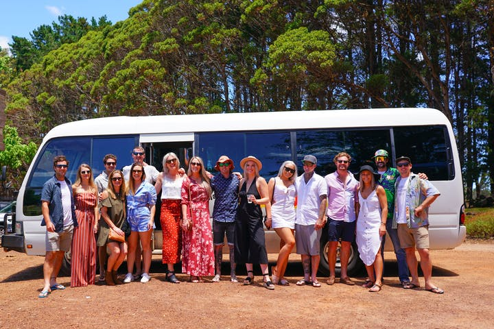 Group of people having a wine tour
