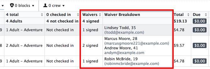 Waiver column options in the Manifest