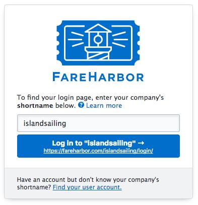 FareHarbor login page