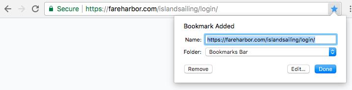 Bookmarking your FareHarbor login page
