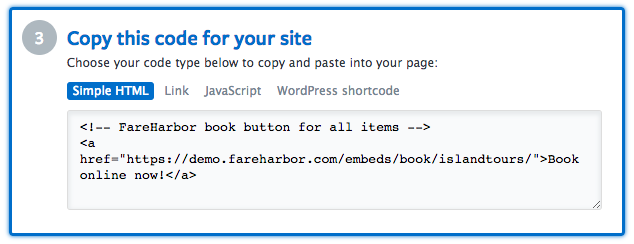 Adding FareHarbor links and embeds to your website | FareHarbor
