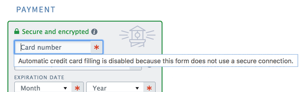Chrome autofill disabled message