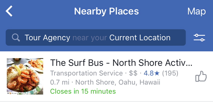 facebook nearby places