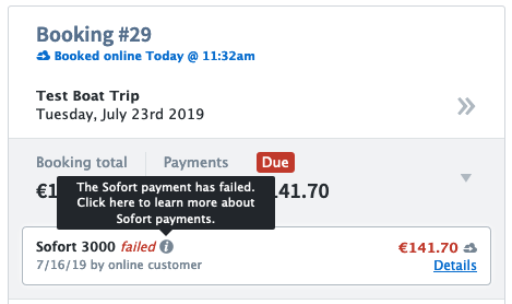Payment Failed status