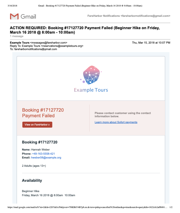 Payment Failed Email Notification