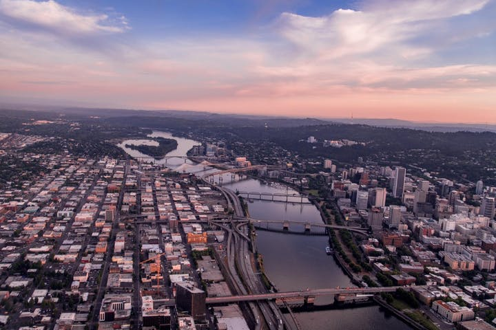 Aerial view of Portland during a pink colored sunset