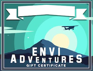 Mountain illustration with plane gift certificate download
