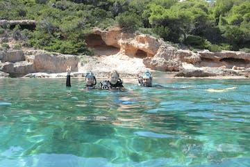 snorkelling in blue sea